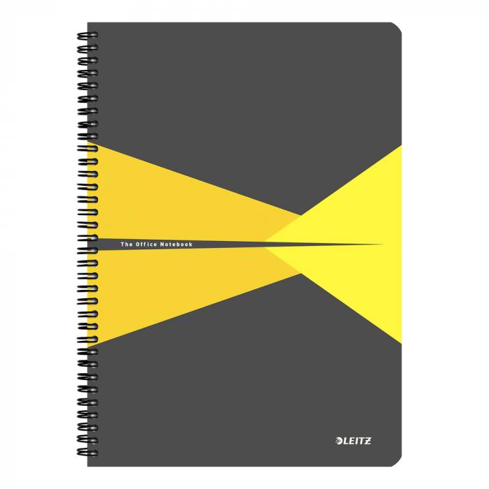 Caiet de birou LEITZ Office, carton, A4, cu spira, matematica - galben 0