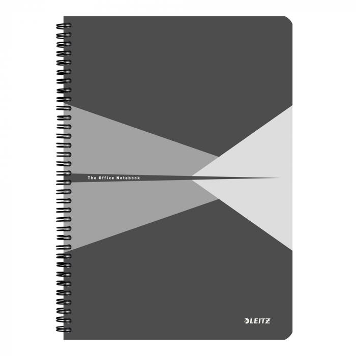 Caiet de birou LEITZ Office, carton, A4, cu spira, matematica - gri [0]