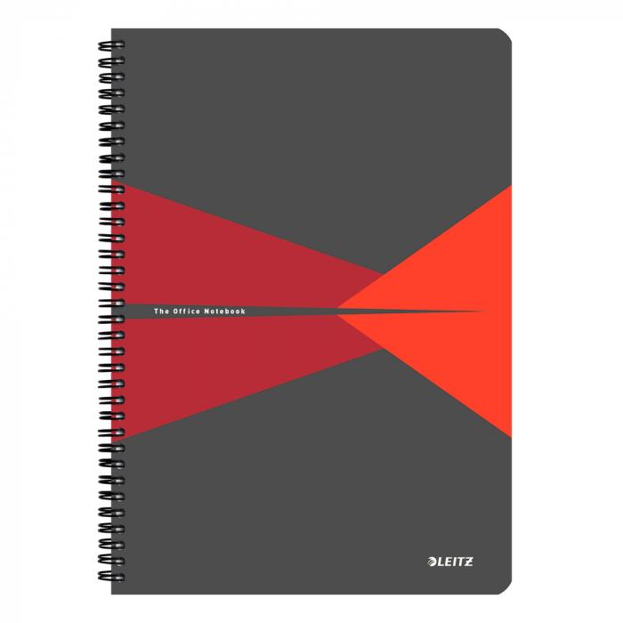 Caiet de birou LEITZ Office, carton, A4, cu spira, matematica - rosu 0