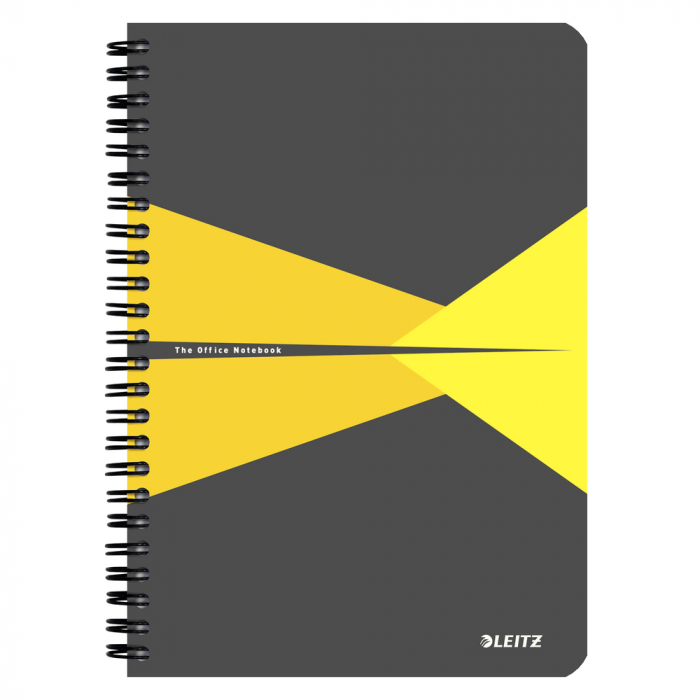 Caiet de birou LEITZ Office, carton, A5, cu spira, dictando - galben 0