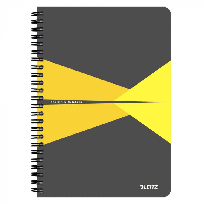 Caiet de birou LEITZ Office, carton, A5, cu spira, matematica - galben 0