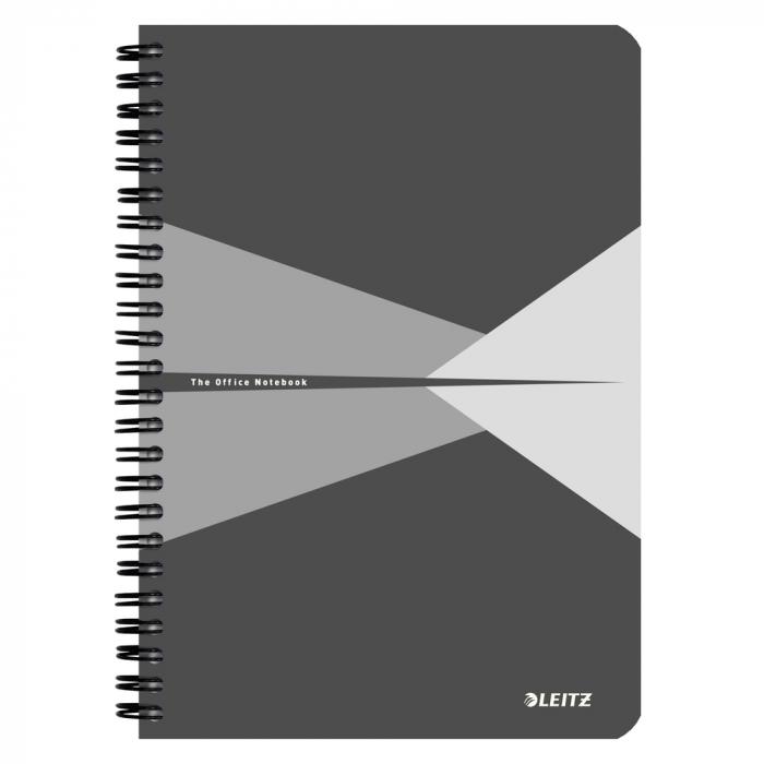 Caiet de birou LEITZ Office, carton, A5, cu spira, matematica - gri [0]