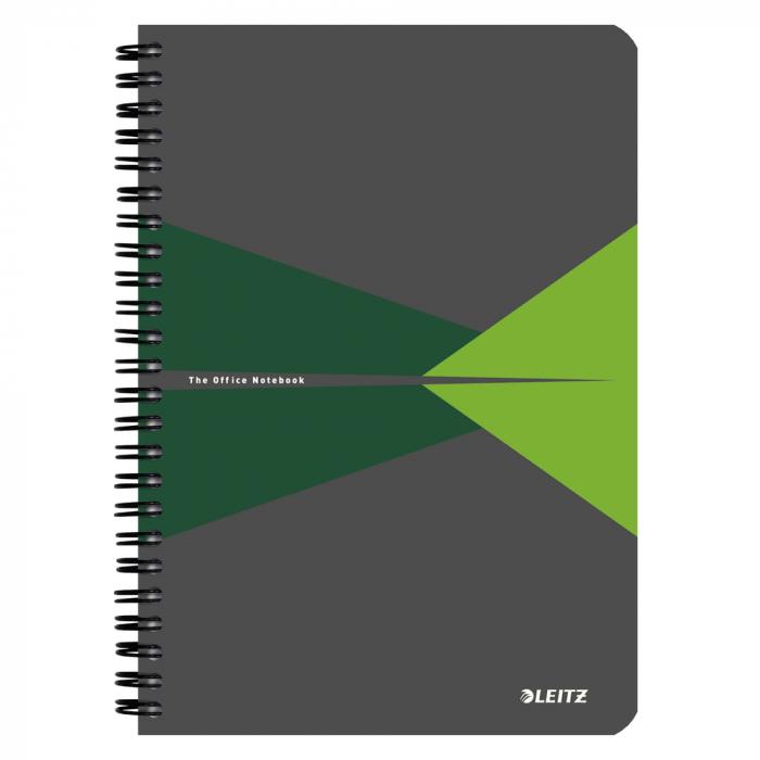 Caiet de birou LEITZ Office, carton, A5, cu spira, matematica - verde 0