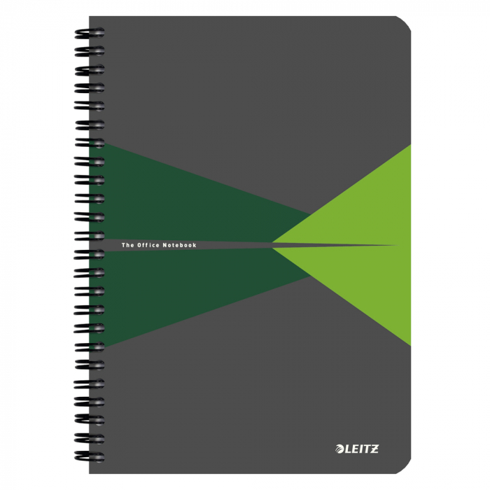Caiet de birou LEITZ Office, PP, A5, cu spira, dictando - verde 0
