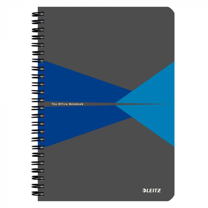 Caiet de birou LEITZ Office, PP, A5, cu spira, matematica - albastru 0