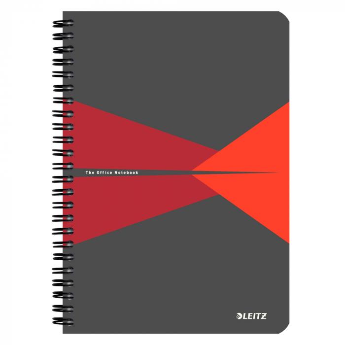 Caiet de birou LEITZ Office, PP, A5, cu spira, matematica - rosu [0]