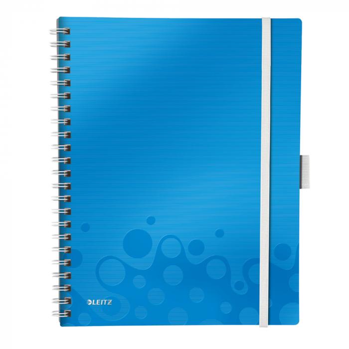 Caiet de birou LEITZ Wow Be Mobile, PP, A4, cu spira, dictando - albastru metalizat 0