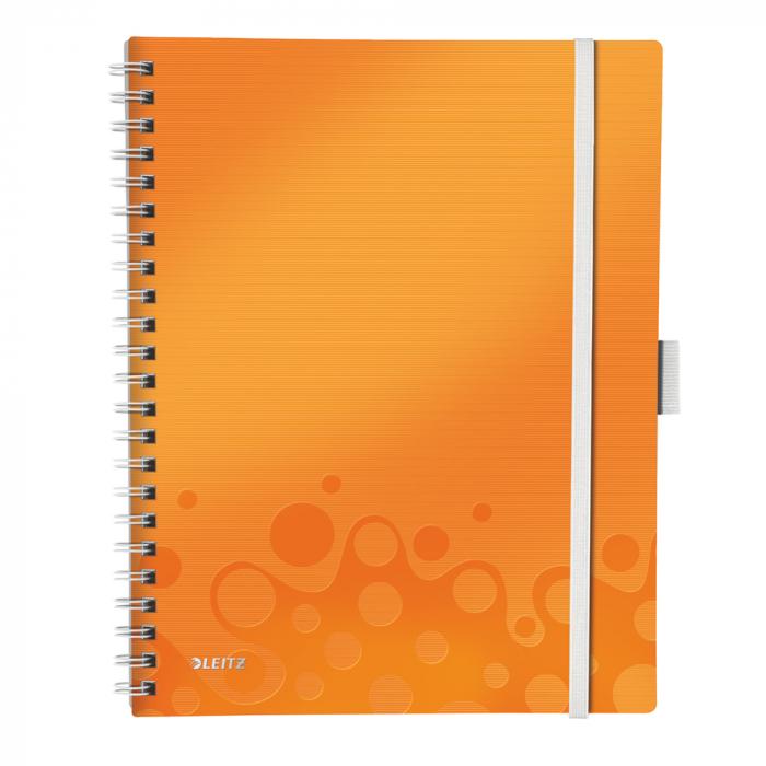 Caiet de birou LEITZ Wow Be Mobile, PP, A4, cu spira, dictando - portocaliu metalizat 0