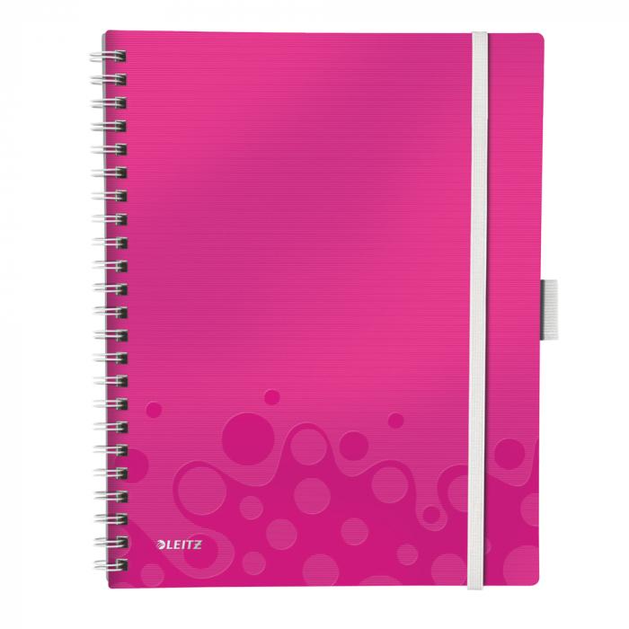 Caiet de birou LEITZ Wow Be Mobile, PP, A4, cu spira, dictando - roz metalizat [0]
