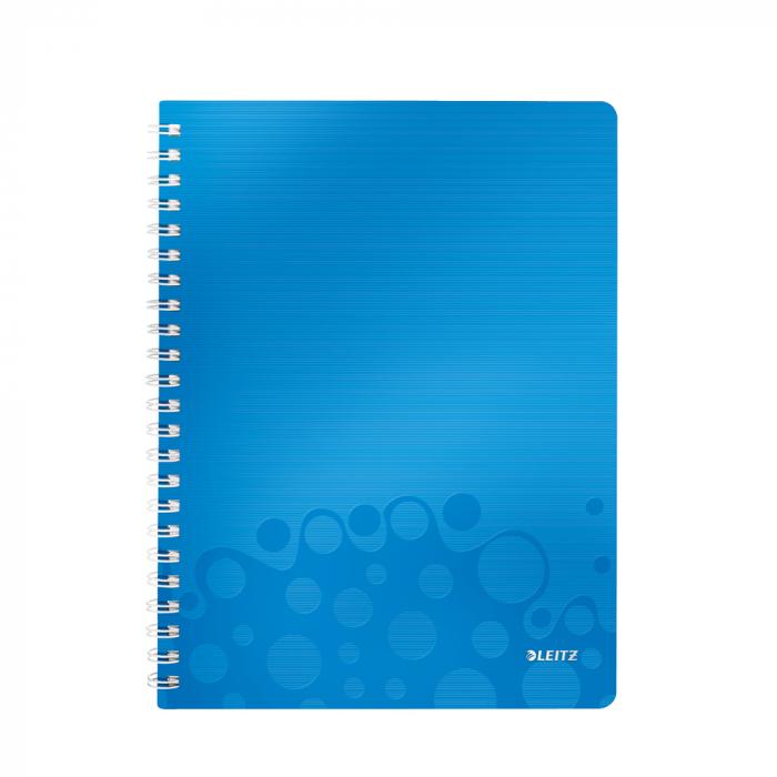 Caiet de birou LEITZ Wow, PP, A4, cu spira, matematica - albastru metalizat 0
