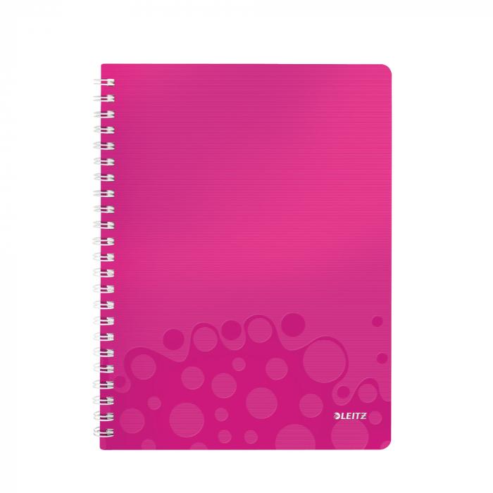 Caiet de birou LEITZ Wow, PP, A4, cu spira, matematica - roz metalizat 0