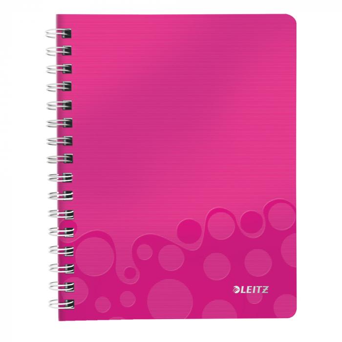 Caiet de birou LEITZ Wow, PP, A5, cu spira, dictando - roz metalizat 0