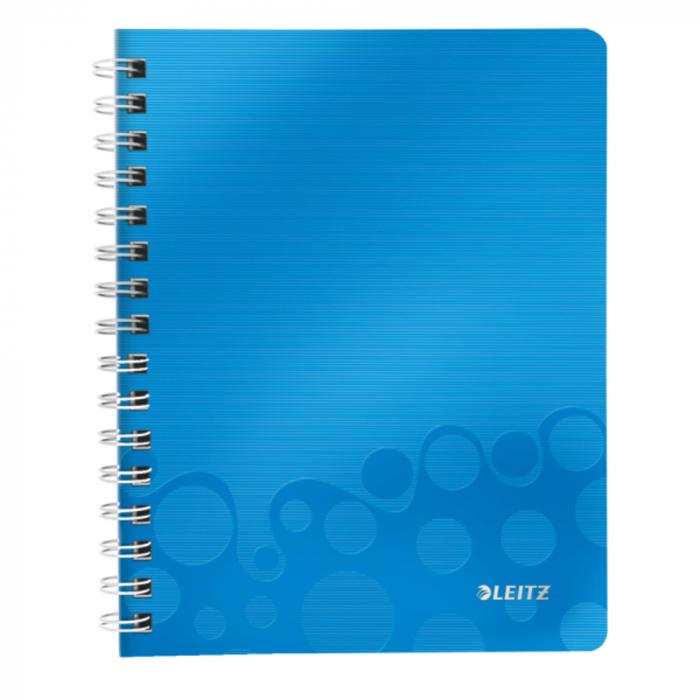Caiet de birou LEITZ Wow, PP, A5, cu spira, matematica -albastru metalizat 0