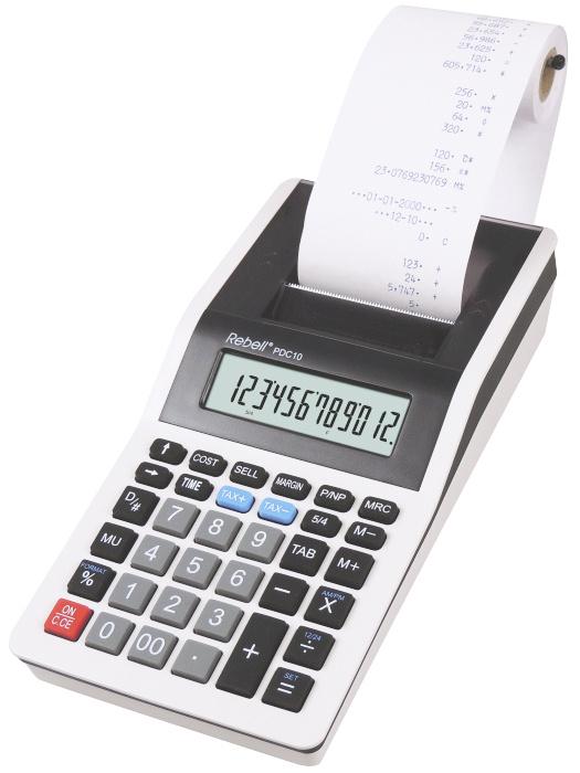 Calculator cu banda, 12 digits, 200 x 102 x 45 mm, Rebell PDC 10 - alb/negru 0