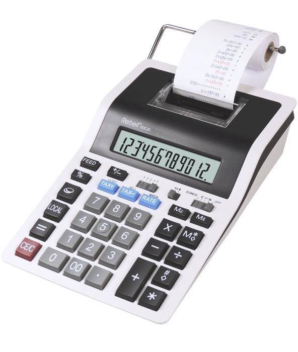 Calculator cu banda, 12 digits, 219 x 154 x 58 mm, Rebell PDC 20 - alb/negru 0