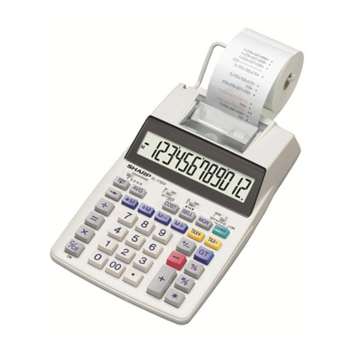 Calculator cu banda, 12 digits, 230 x 150 x 52 mm, SHARP EL-1750V - alb 0