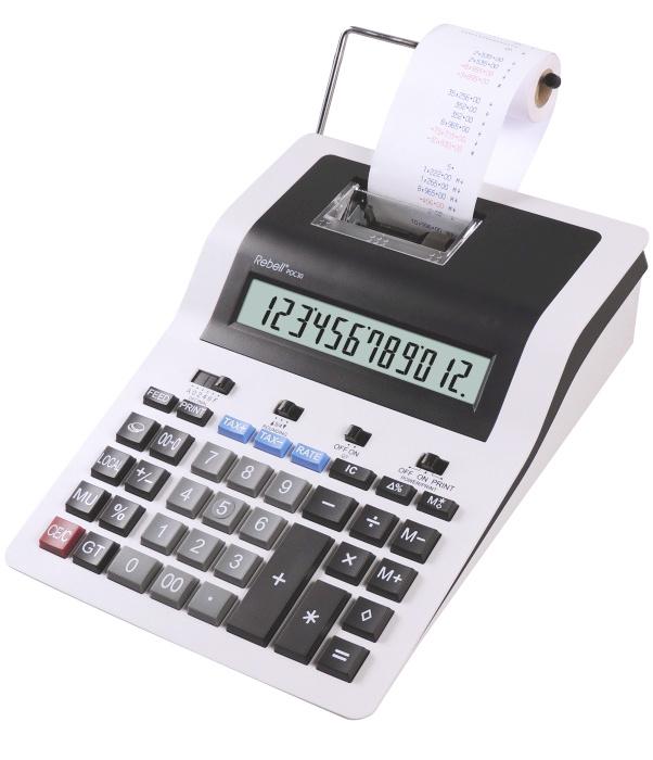 Calculator cu banda, 12 digits, 255 x 190 x 70 mm, Rebell PDC 30 - alb/negru [0]