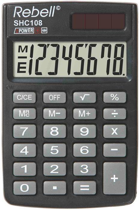 Calculator de buzunar, 8 digits, 88 x 59 x 10 mm, capac din plastic, Rebell SHC108 0