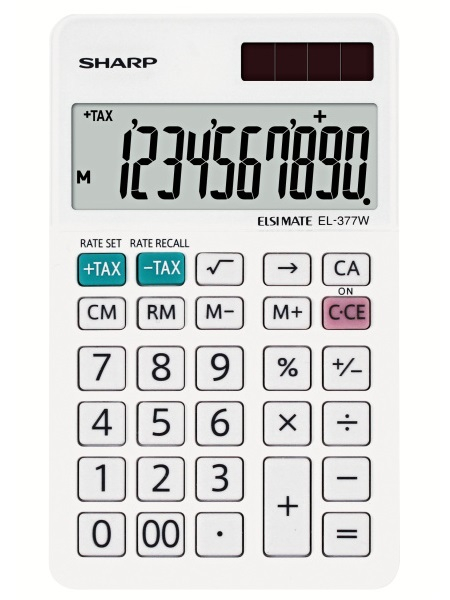 Calculator pentru birou, 10 digits, 120 x 71 x 10 mm, dual power, SHARP EL-377W - alb 0