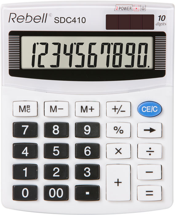 Calculator pentru birou, 10 digits, 125 x 100 x 27 mm, Rebell SDC 410 - alb [0]