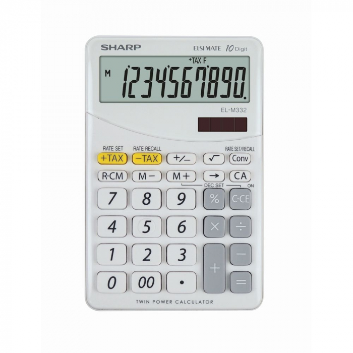 Calculator pentru birou, 10 digits, 149 x 100 x 27 mm, dual power, SHARP EL-M332BBL - gri/alb 0