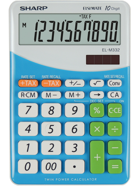 Calculator pentru birou, 10 digits, 149 x 100 x 27 mm, dual power, SHARP EL-M332BBL - gri/bleu 0