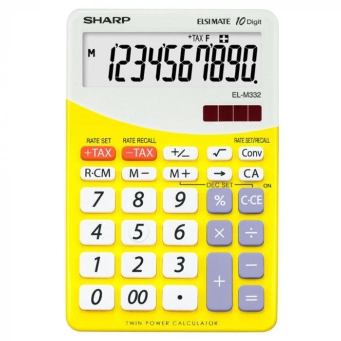 Calculator pentru birou, 10 digits, 149 x 100 x 27 mm, dual power, SHARP EL-M332BBL - gri/galben 0