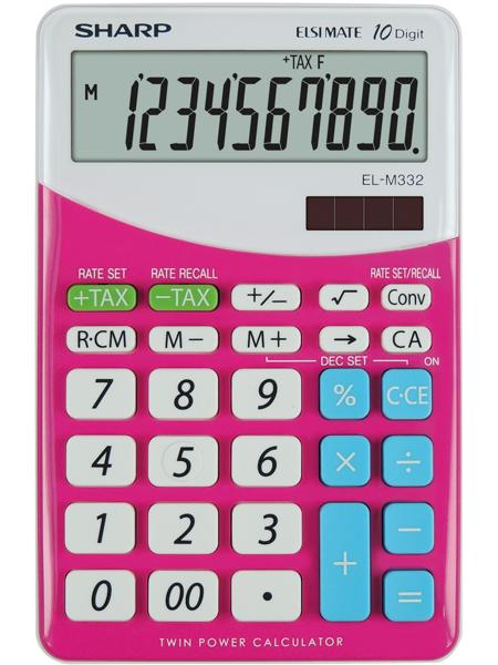 Calculator pentru birou, 10 digits, 149 x 100 x 27 mm, dual power, SHARP EL-M332BBL - gri/roz 0