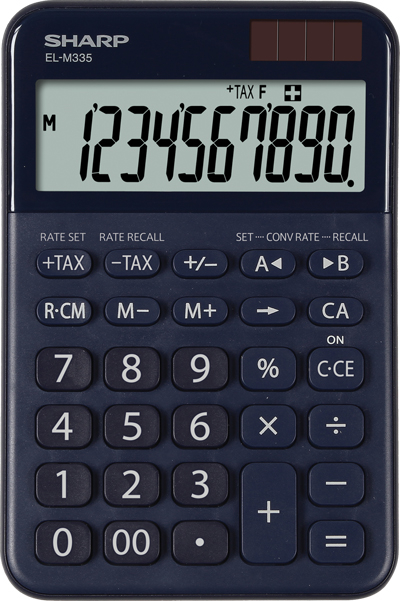 Calculator pentru birou, 10 digits, 149 x 100 x 27 mm, dual power, SHARP EL-M335BBL - bleumarin 0