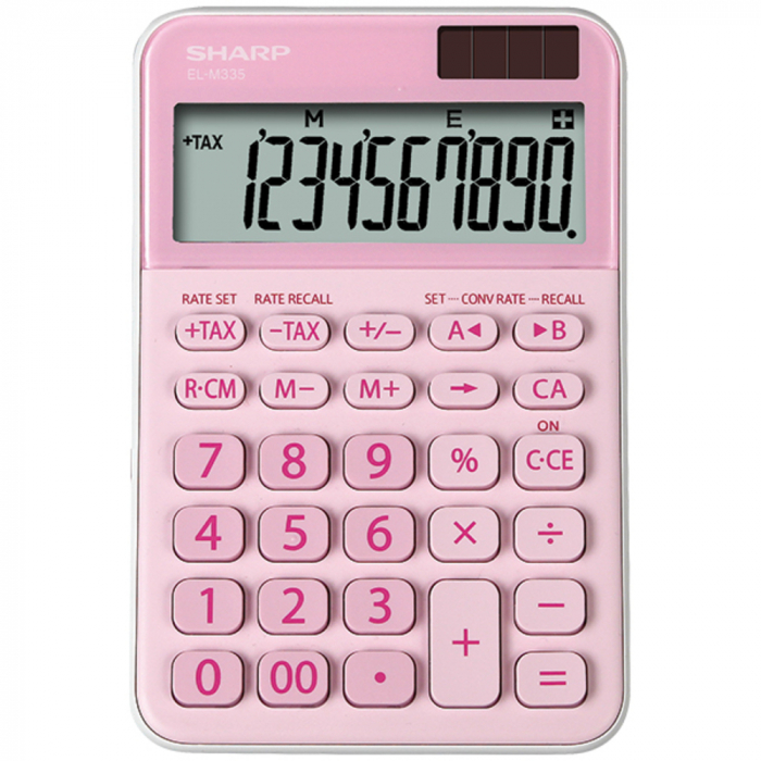 Calculator pentru birou, 10 digits, 149 x 100 x 27 mm, dual power, SHARP EL-M335BPK - roz 0