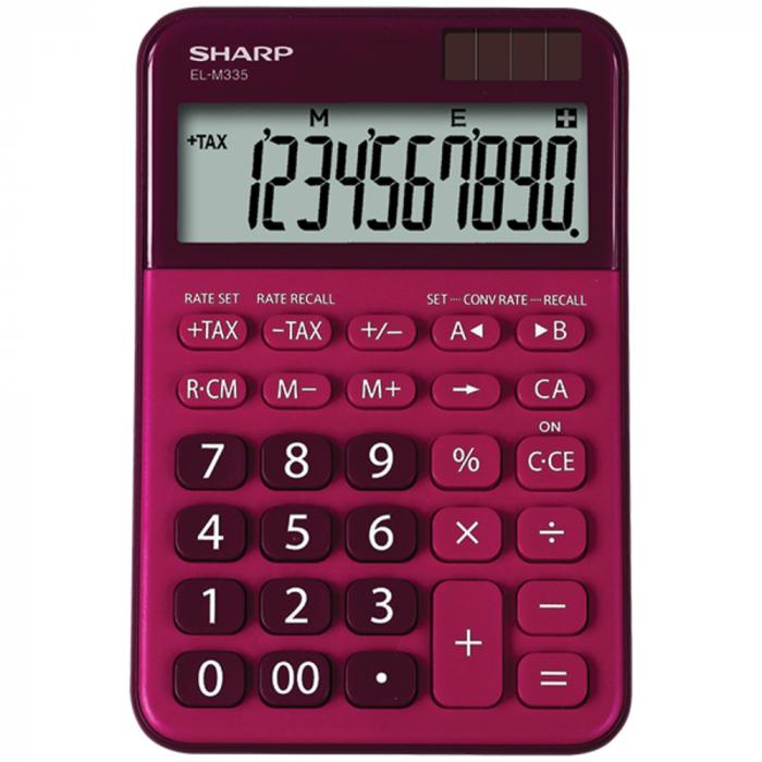 Calculator pentru birou, 10 digits, 149 x 100 x 27 mm, dual power, SHARP EL-M335BRD - rosu 0