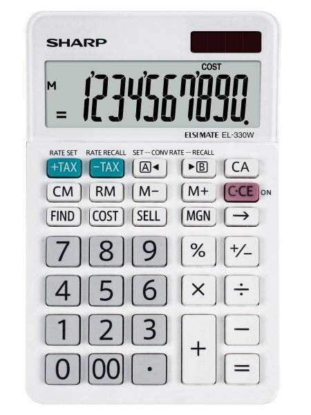 Calculator pentru birou, 10 digits, 152 x 94 x 28 mm, dual power, SHARP EL-330W - alb [0]