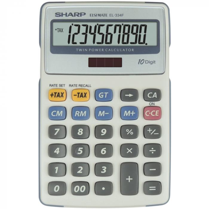 Calculator pentru birou, 10 digits, 170 x 108 x 15 mm, dual power, SHARP EL-334FB - gri [0]