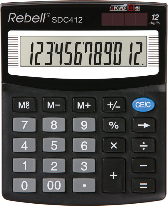 Calculator pentru birou, 12 digits, 125 x 100 x 27 mm, Rebell SDC 412 - negru [0]