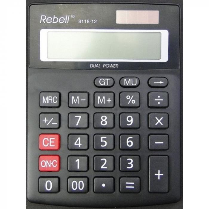 Calculator pentru birou, 12 digits, 137 x 104 x 23 mm, dual power, Rebell 8118-12 - negru 0