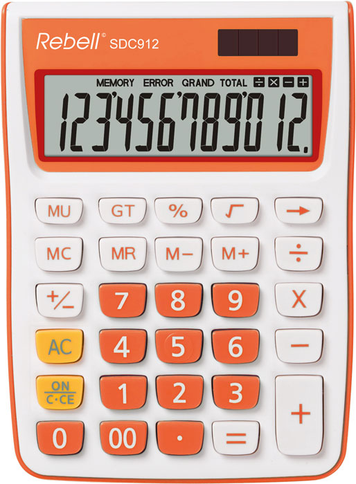Calculator pentru birou, 12 digits, 145 x 104 x 26 mm, Rebell SDC 912 - alb/orange 0
