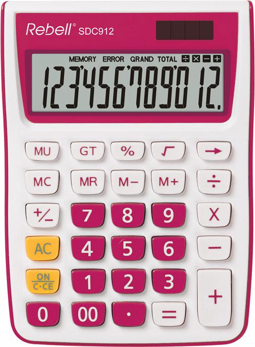 Calculator pentru birou, 12 digits, 145 x 104 x 26 mm, Rebell SDC 912 - alb/roz [0]
