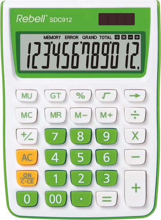 Calculator pentru birou, 12 digits, 145 x 104 x 26 mm, Rebell SDC 912 - alb/verde 0