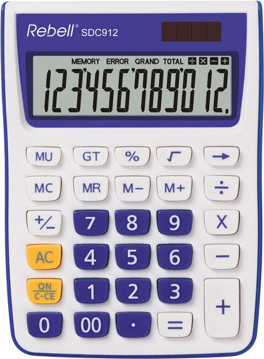 Calculator pentru birou, 12 digits, 145 x 104 x 26 mm, Rebell SDC 912 - alb/violet 0