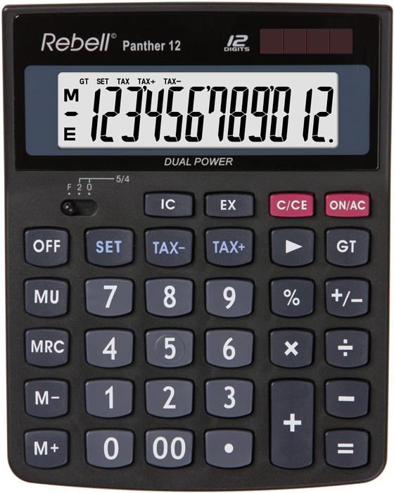 Calculator pentru birou, 12 digits, 147 x 115 x 32 mm, Rebell Panther 12 - negru [0]