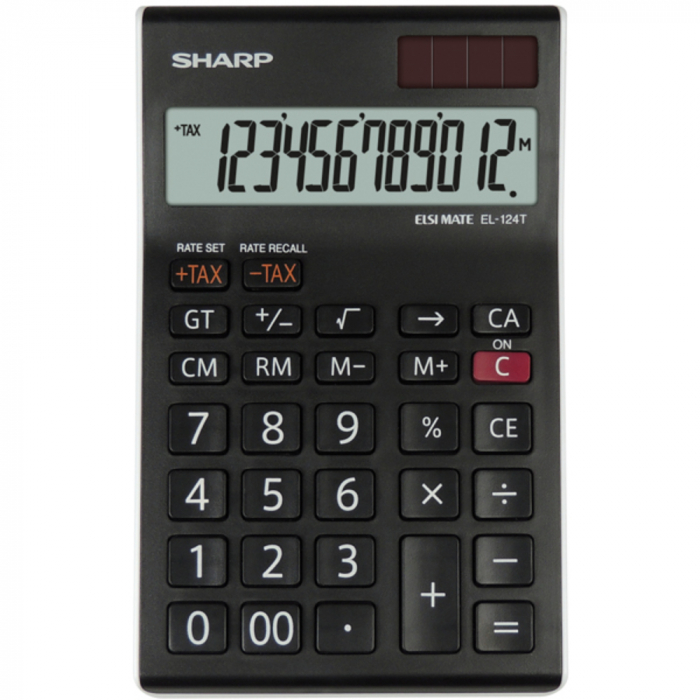 Calculator pentru birou, 12 digits, 152 x 96 x 12 mm, dual power, SHARP EL-124TWH - negru/alb [0]