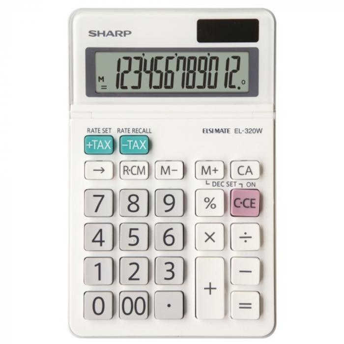 Calculator pentru birou, 12 digits, 153 x 97 x 18 mm, dual power, ecran rabatabil, SHARP EL-320W - alb 0