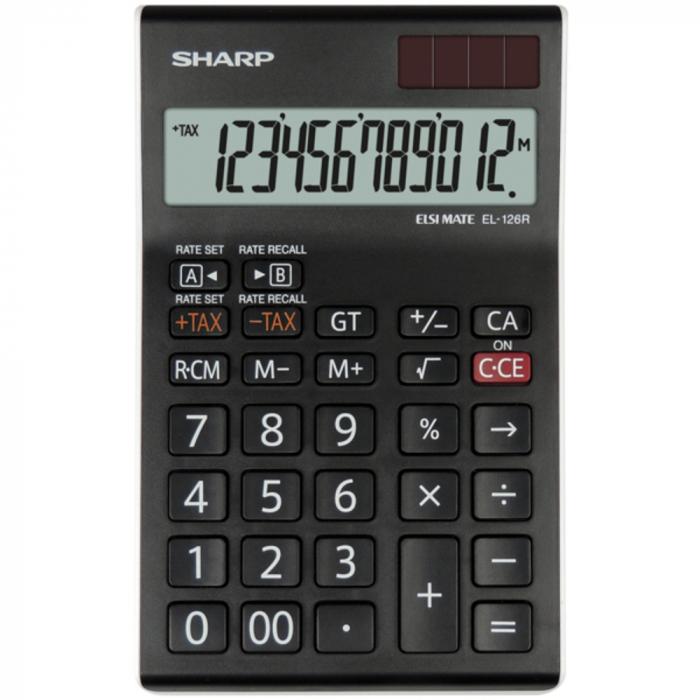 Calculator pentru birou, 12 digits, 155 x 97 x 12 mm, dual power, SHARP EL-126RWH - negru/alb [0]