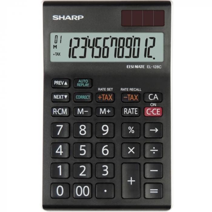 Calculator pentru birou, 12 digits, 155 x 97 x 12 mm, dual power, SHARP EL-128CWH - negru/alb [0]