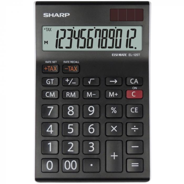Calculator pentru birou, 12 digits, 176 x 112 x 13 mm, dual power, SHARP EL-125TWH - negru/alb [0]