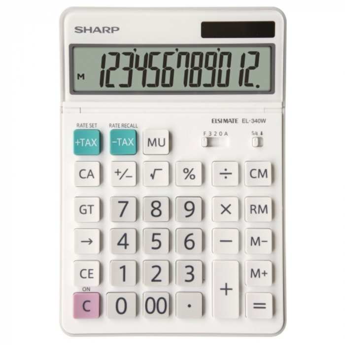 Calculator pentru birou, 12 digits, 189 x 127 x 18 mm, dual power, ecran rabatabil, SHARP EL-340W - alb [0]