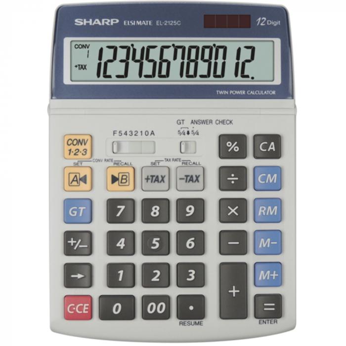 Calculator pentru birou, 12 digits, 195 x 140 x 23 mm, dual power, SHARP EL-2125C - gri 0