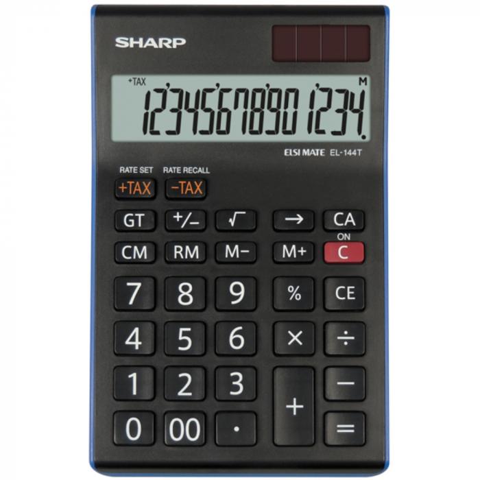 Calculator pentru birou, 14 digits, 155 x 97 x 12 mm, dual power, SHARP EL-144TBL - negru 0