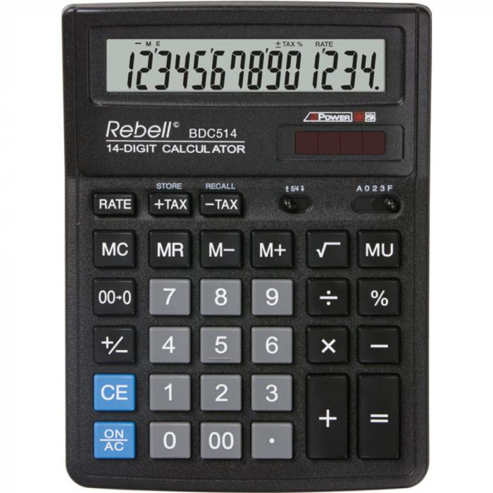 Calculator pentru birou, 14 digits, 193 x 143 x 38 mm, Rebell BDC 514 - negru [0]