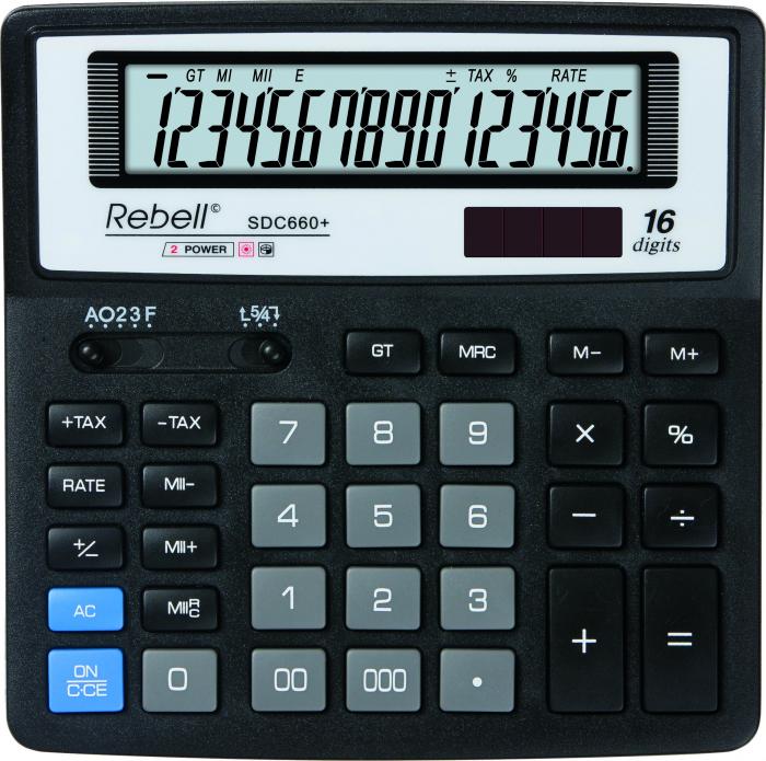Calculator pentru birou, 16 digits, 156 x 156 x 30 mm, Rebell SDC 660+ - negru [0]